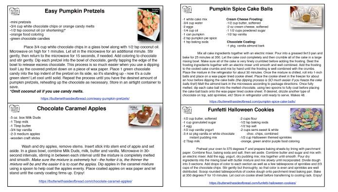 Printable Halloween Recipe Cards
