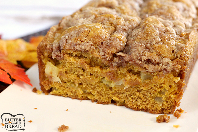 Apple Pumpkin Bread is the perfect blend of two favorite fall flavors - pumpkin and fresh apples! The crumbly cinnamon and sugar streusel on top adds the most amazing texture and flavor to this delicious quick bread.