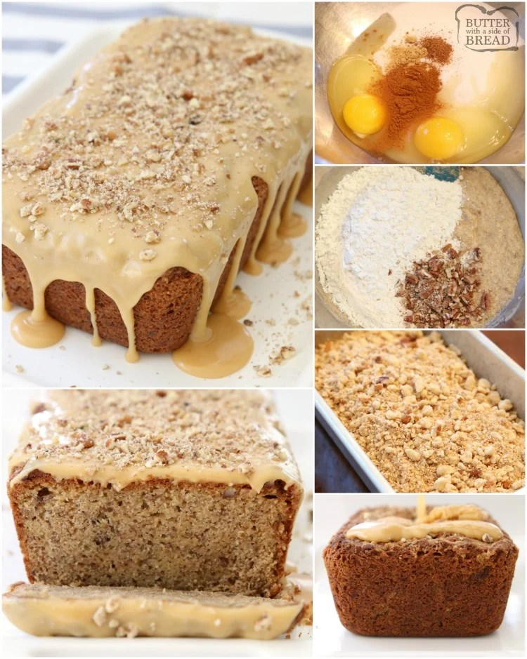 Caramel Banana Nut Bread made with ripe bananas and spiced with cinnamon, nutmeg and ginger. Topped with buttery streusel & caramel glaze. Best Banana Nut Bread recipe ever!