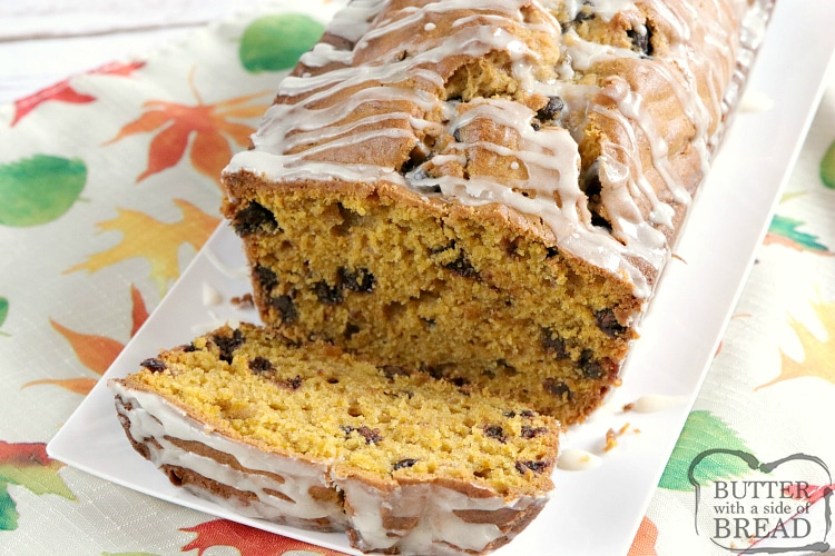 Pumpkin Chocolate Chip Bread is the perfect pumpkin quick bread recipe! The vanilla glaze on top is simple and delicious and adds a little bit of extra flavor too!