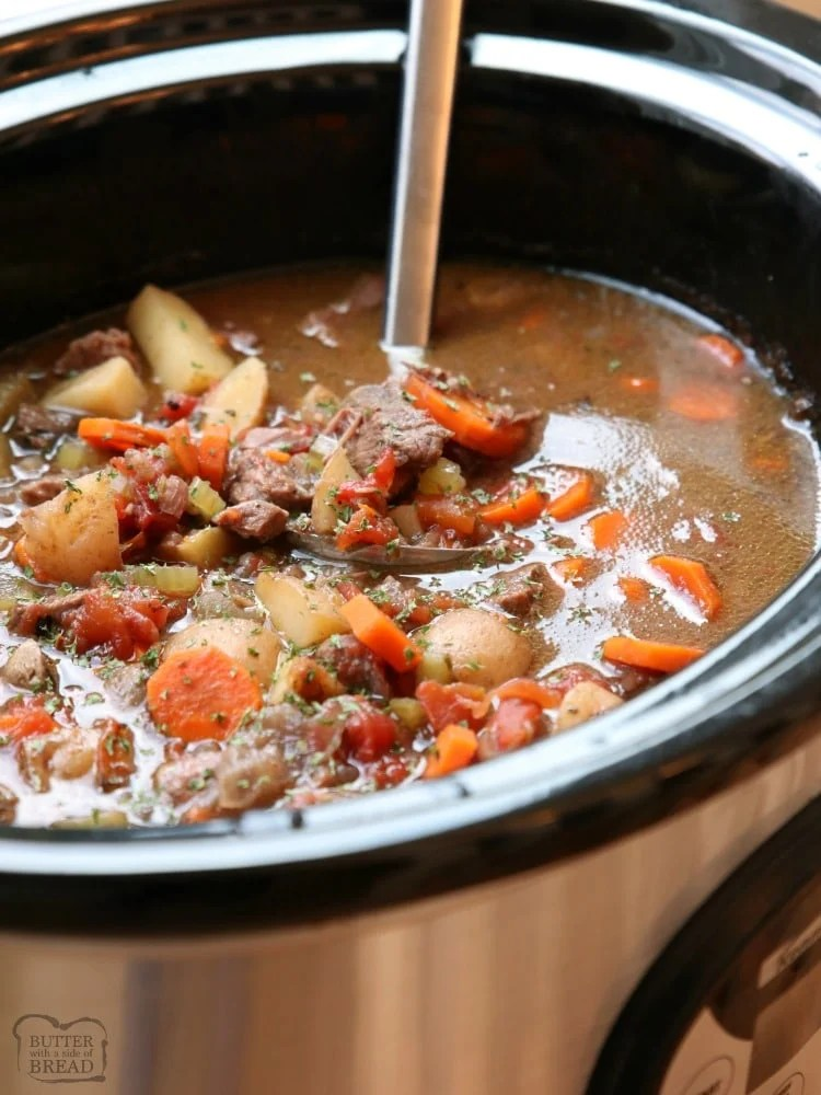 Best Crock Pot Beef Stew recipe made with tender chunks of beef, loads of vegetables and a simple mixture of broth and spices that yields incredible home style beef stew. Tips for making more flavorful stew & time saving ideas to make faster stew.