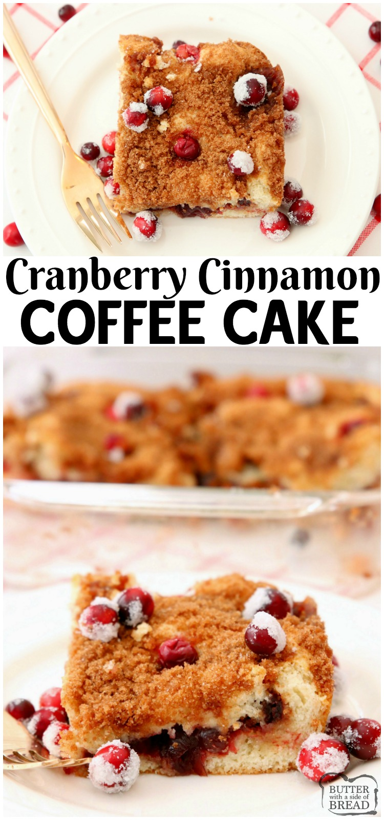 Cranberry Cinnamon Coffee Cake recipe made with just 4 ingredients! Festive & easy coffee cake recipe perfect for holiday breakfasts. #coffeecake #cranberry #cinnamon #baking #breakfast #recipe from BUTTER WITH A SIDE OF BREAD
