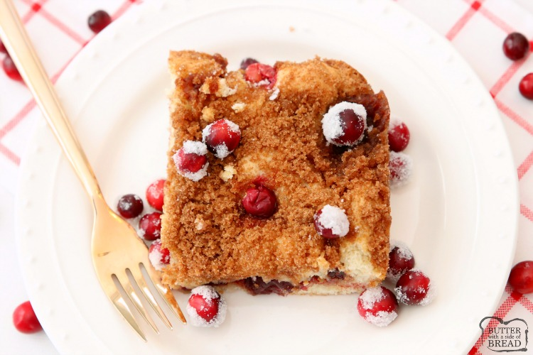 Cranberry Cinnamon Coffee Cake recipe made with just 4 ingredients! Festive & easy coffee cake recipe perfect for holiday breakfasts.