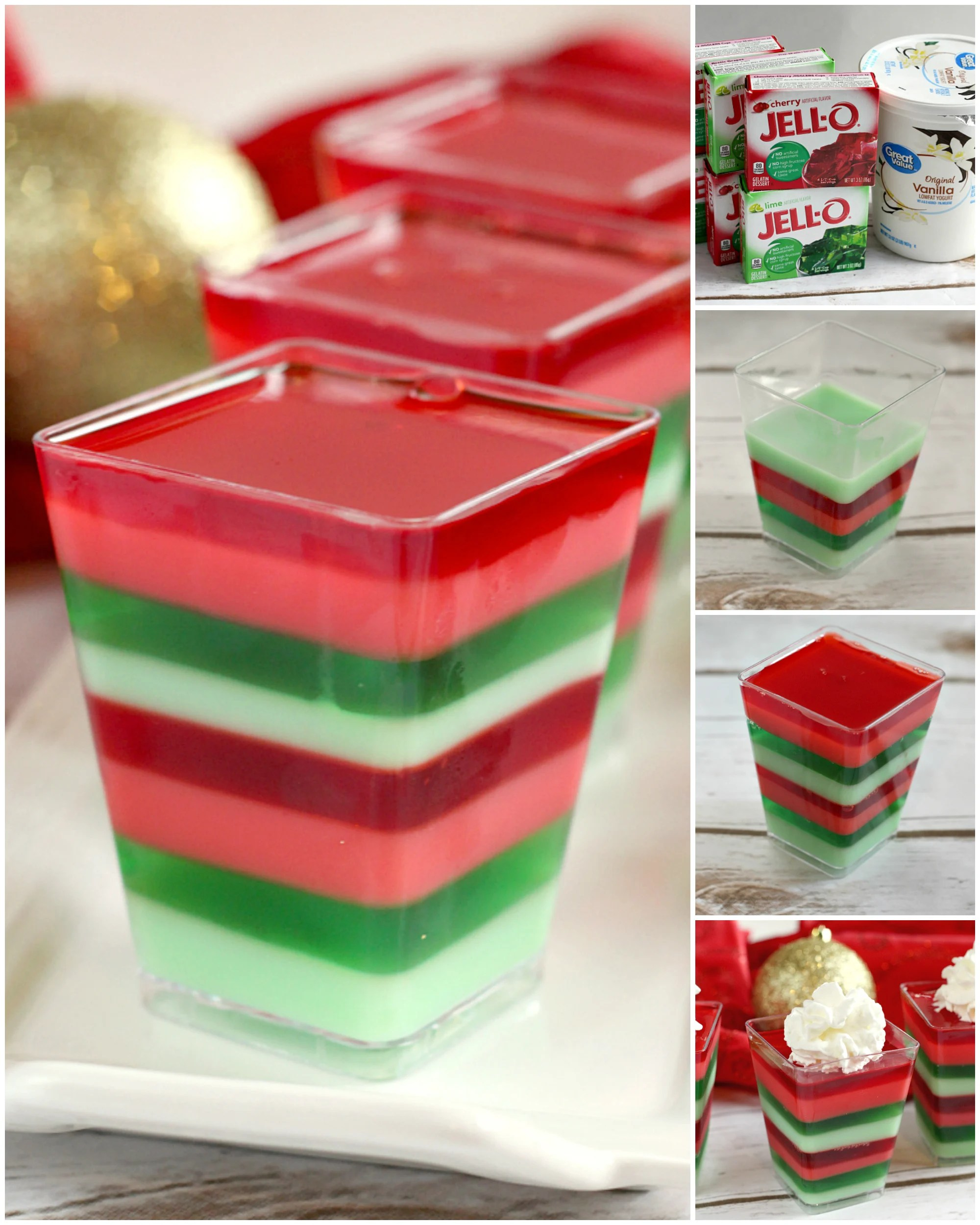 Layered Christmas Jello cups are fun, festive and easy to make for holiday parties! This layered Jello recipe is made with cherry and lime gelatin for a delicious flavor combination in the perfect colors for Christmas!