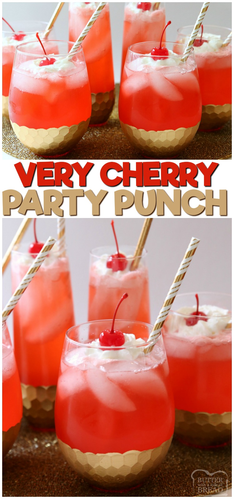 Easy Cherry Party Punch is a fun & festive party drink that everyone goes crazy over! Simple to make & has a fantastic sweet cherry flavor. #cherry #party #punch #drink #beverage #partypunch #verycherry #recipe from BUTTER WITH A SIDE OF BREAD