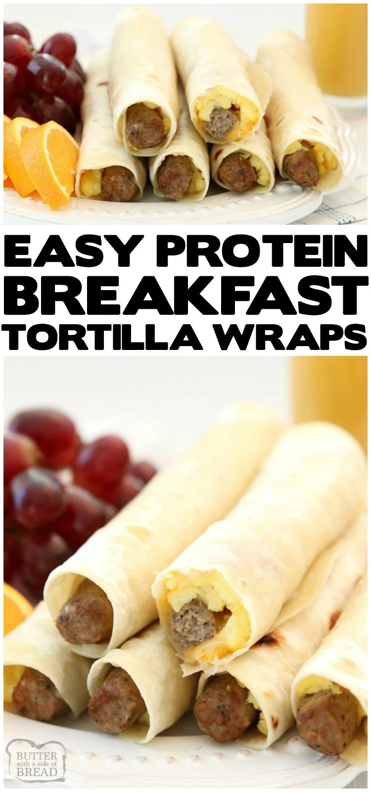 High Protein Breakfast Wraps made with turkey sausage, eggs and cheese wrapped in a fresh tortilla. Easy on the go breakfast that's delicious and & satisfying for everyone! #breakfast #protein #highprotein #eggs #sausage #cheese #food #cooking #freezer #recipe from BUTTER WITH A SIDE OF BREAD
