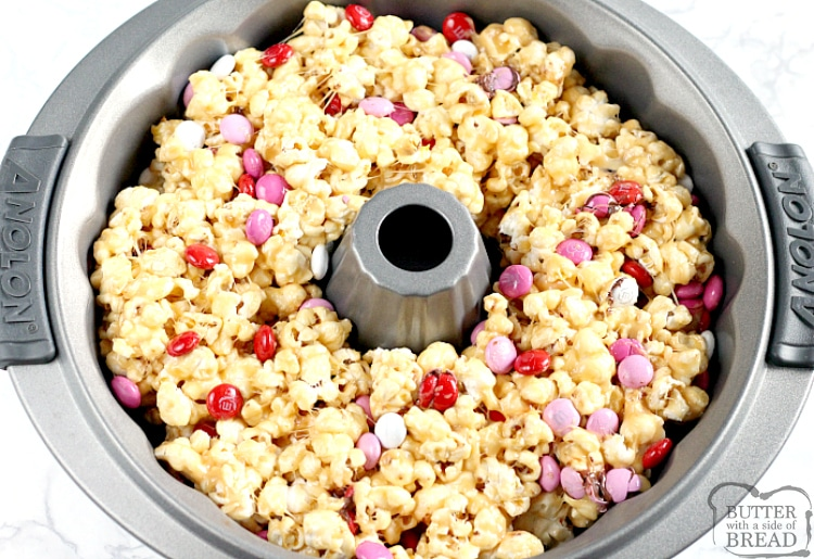 Making caramel popcorn cake in a bundt pan
