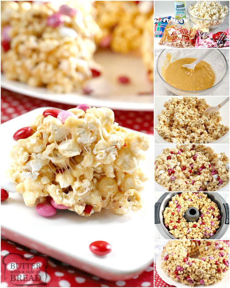 Step by step instructions on how to make a caramel popcorn cake