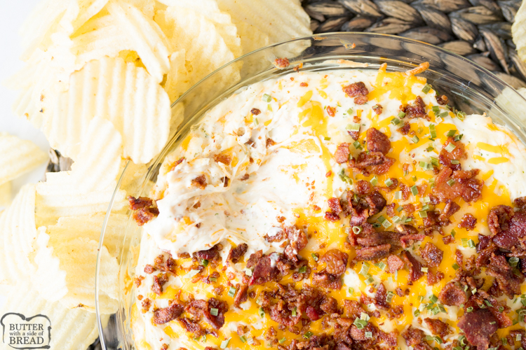 Chicken Cream Cheese Dip is a quick and easy hot appetizer. Perfect to throw together for a party or game day! Combining the classic flavors of chicken, bacon and ranch this cream cheese based dip is sure to be a crowd pleaser!