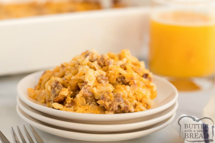 Breakfast casserole with sausage and three kinds of cheese