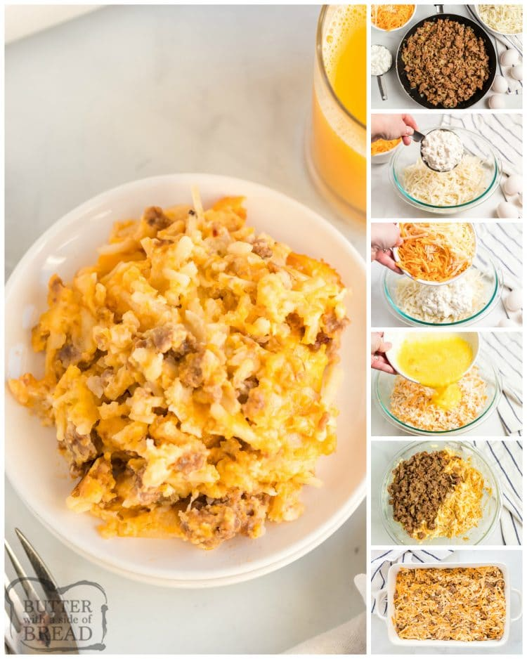 Step by step instructions on making breakfast casserole with sausage, hash browns and three kinds of cheese