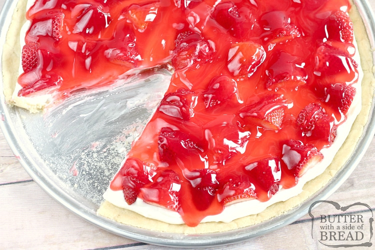 Fruit pizza recipe with strawberry jello glaze and strawberries