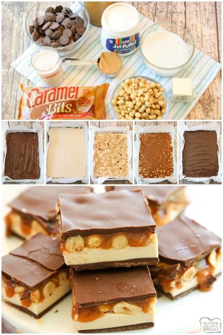 Homemade Snickers Bars recipe makes you love your favorite candy bar even more. These chocolate peanut butter bars are surprisingly easy to make and melt in your mouth tasty!