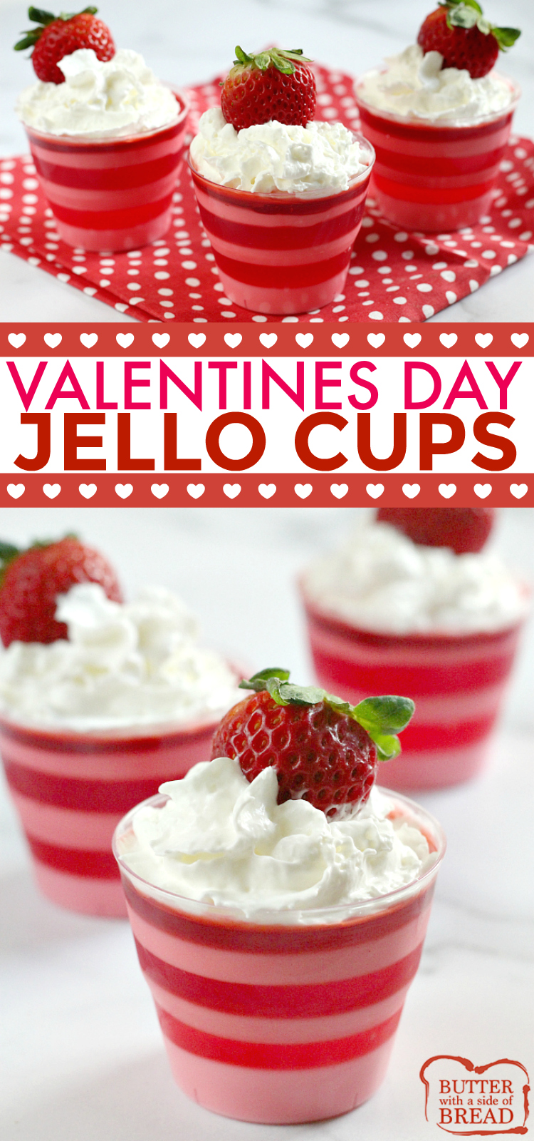 Layered Valentines Jello Cups are so fun and easy to make for Valentines Day! All you need is jello and yogurt to make this delicious and simple jello recipe!