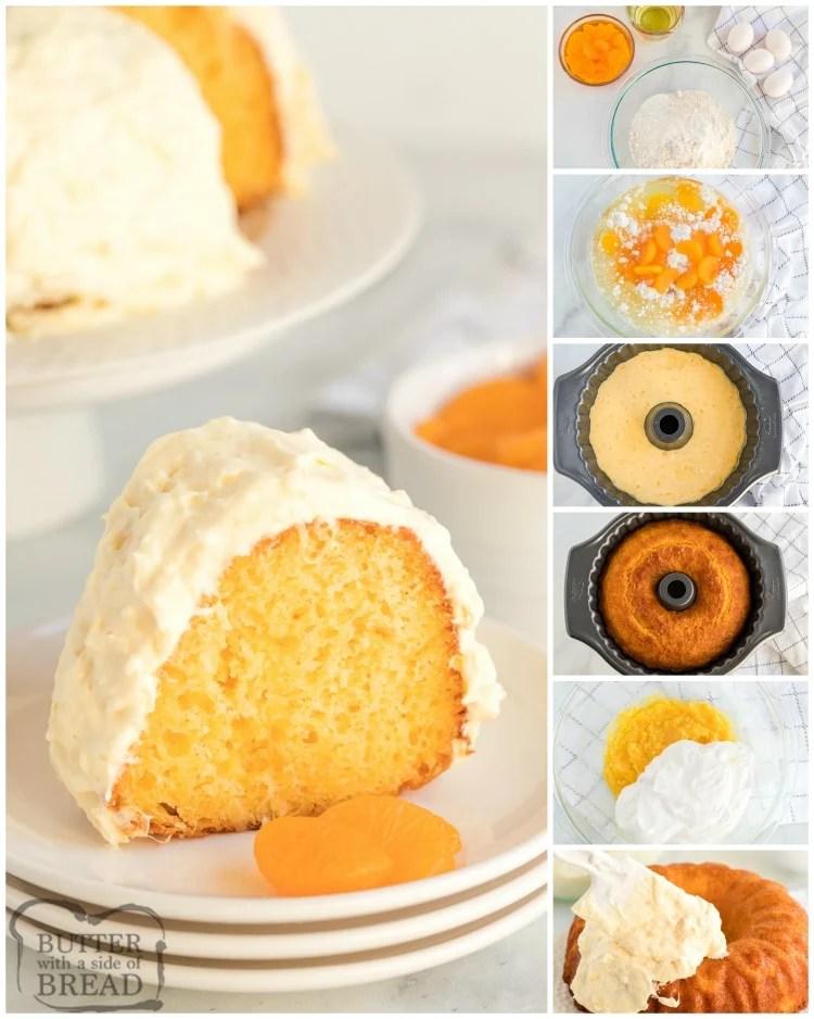 Step by step instructions on making a mandarin orange (pig pickin') cake