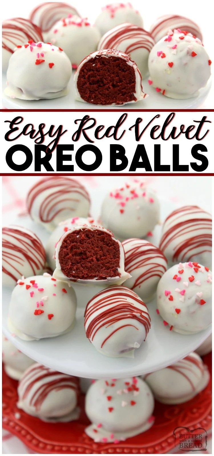 Red Velvet Oreo Balls made with just 3 ingredients & perfect for Valentine's Day! Made in minutes and so delicious, no one can guess they're made with Oreo cookies! #redvelvet #oreo #truffles #candy #chocolate #ValentinesDay #dessert #recipe from BUTTER WITH A SIDE OF BREAD