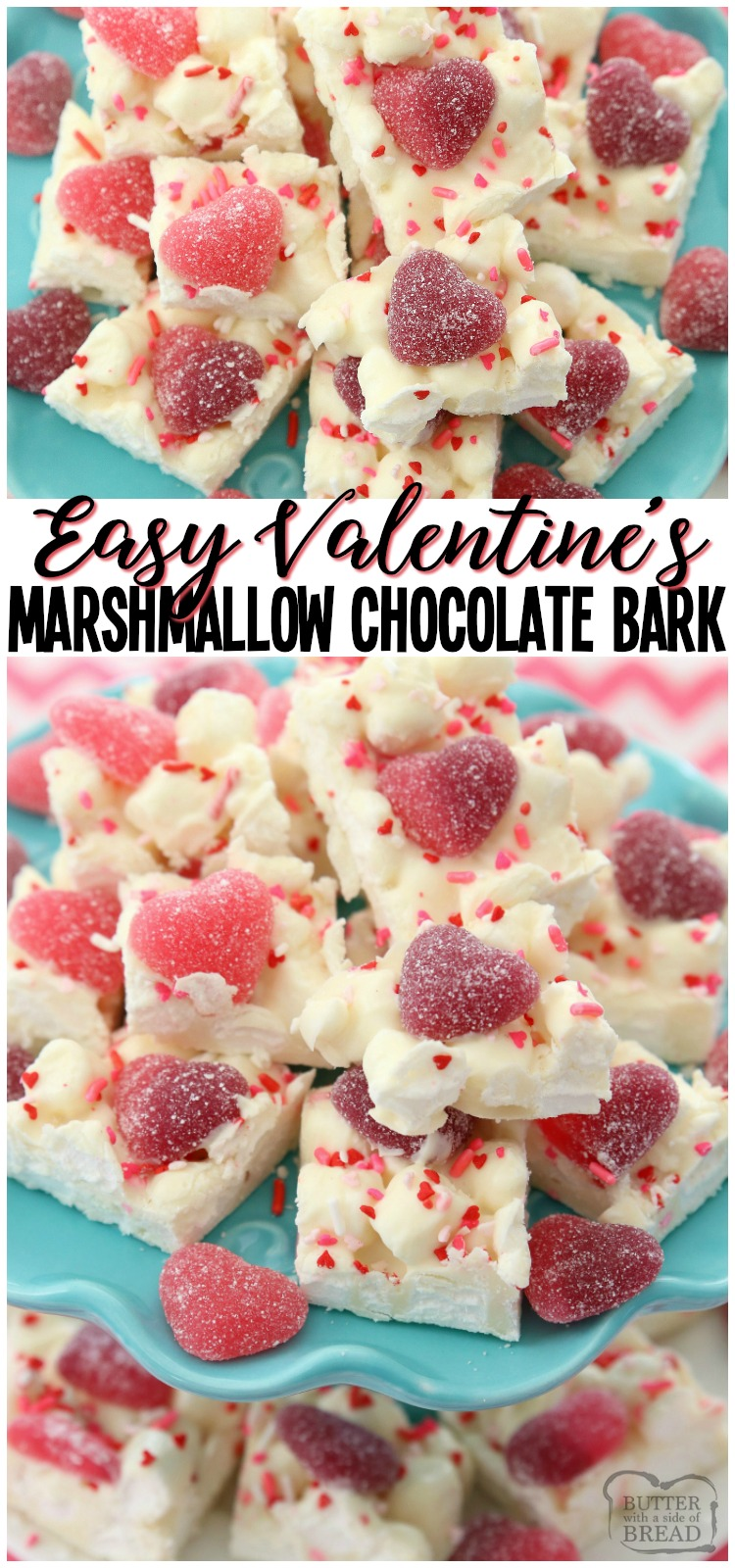 Valentine's Marshmallow Chocolate Bark is a simple, festive dessert that everyone loves! Made in minutes with just 3 ingredients, these chocolate squares are perfect for Valentine's Day! #candy #marshmallows #Valentines #recipe #chocolatebark from BUTTER WITH A SIDE OF BREAD #chocolate