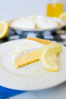 frozen lemonade pie, made and served.