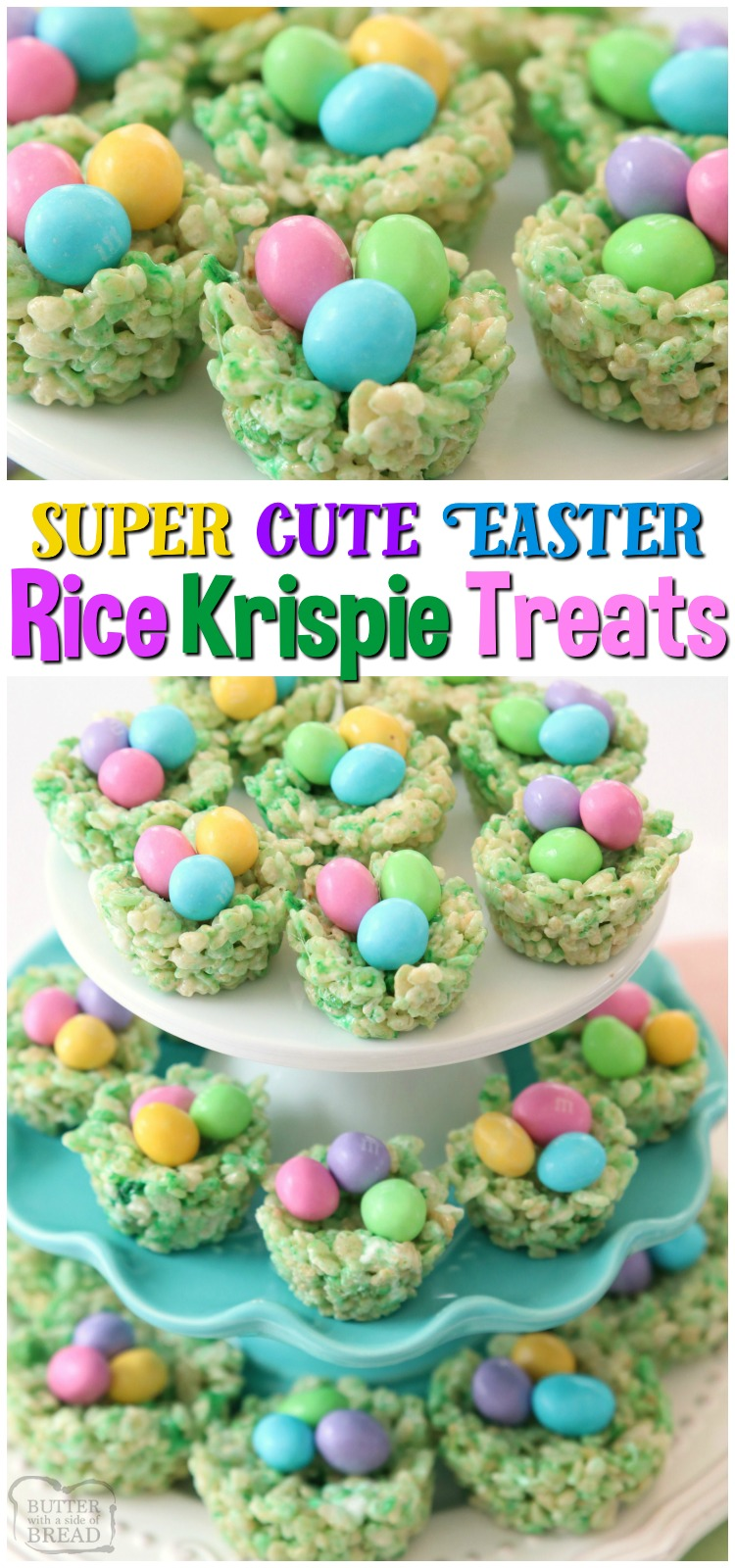 Easter Rice Krispie Treats made with classic marshmallow treat ingredients that look like cute Easter baskets! Simple, fun recipe for a festive Easter dessert. #Easter #marshmallows #krispie #treats #dessert #Spring #recipe #food from BUTTER WITH A SIDE OF BREAD