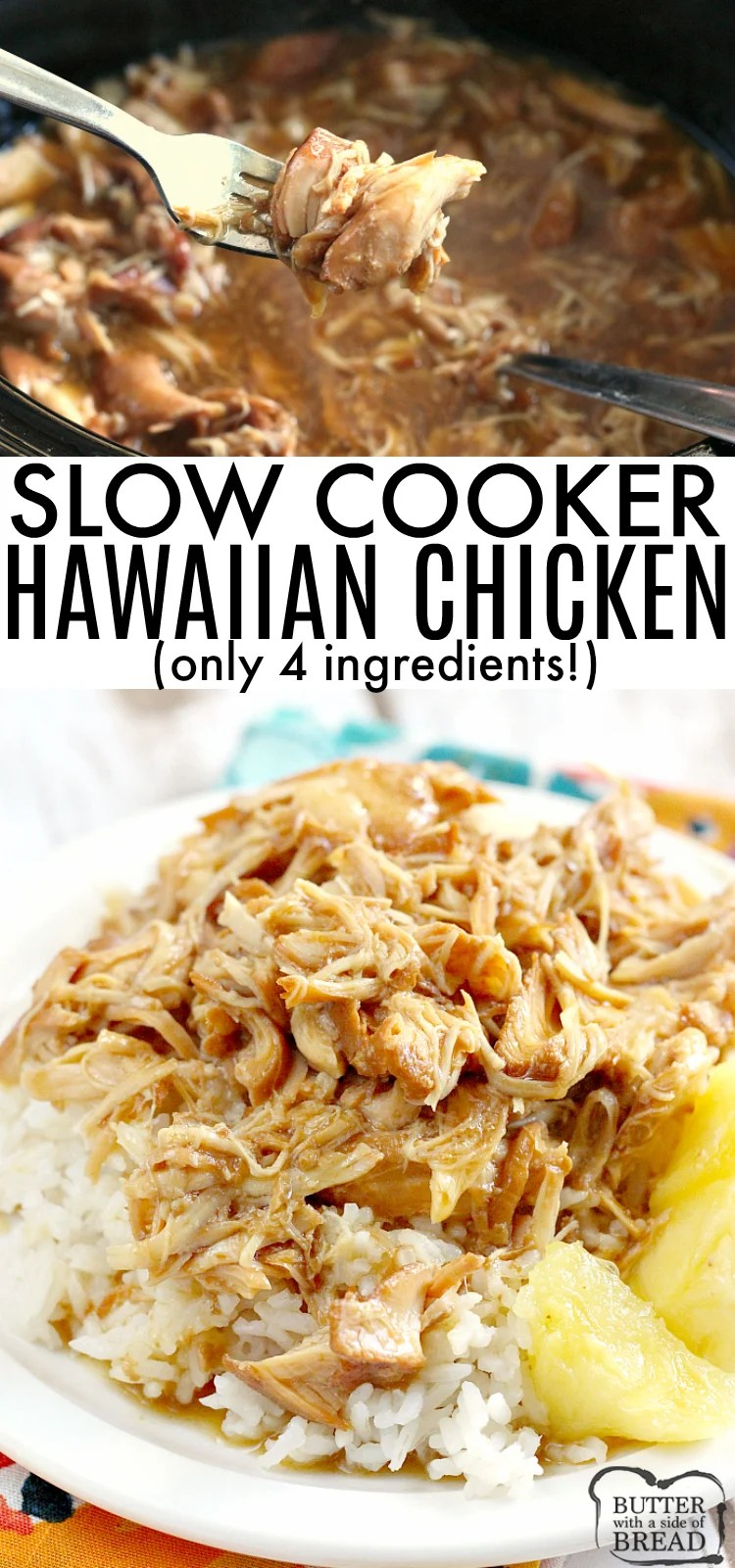 Easy Crock Pot Hawaiian Chicken is the perfect blend of sweet and savory with a delicious burst of pineapple flavor. This Hawaiian Chicken recipe only requires 4 ingredients and results in fork tender chicken that falls apart when it's ready!