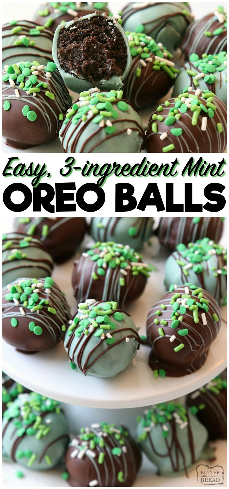 Mint Oreo Balls made with just 3 ingredients & perfect for St. Patrick's Day! Made in minutes and so delicious, no one can guess they're made with Oreo cookies!