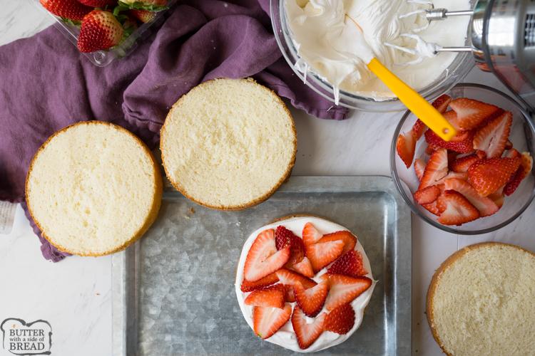 strawberries and cream cake process shot