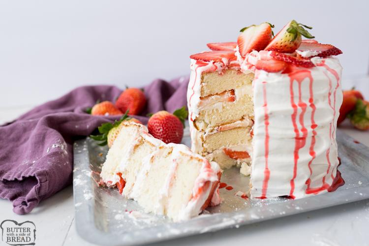 strawberries and cream cake, final shot