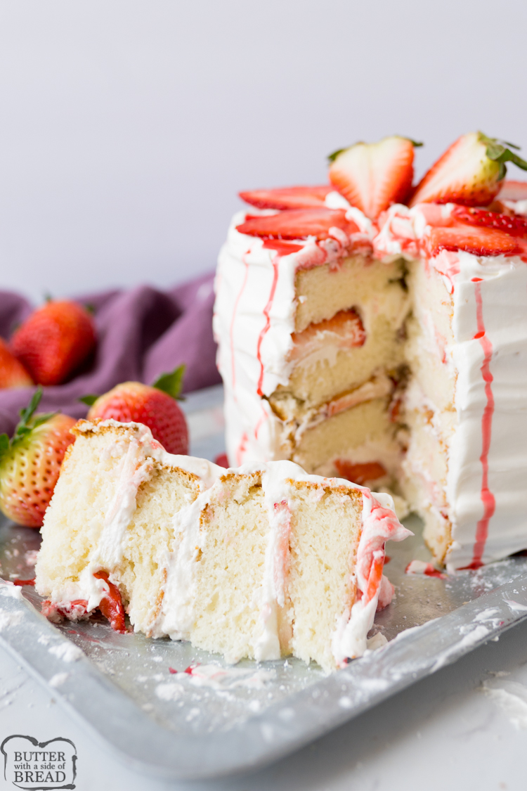 strawberries and cream cake, finished and served.