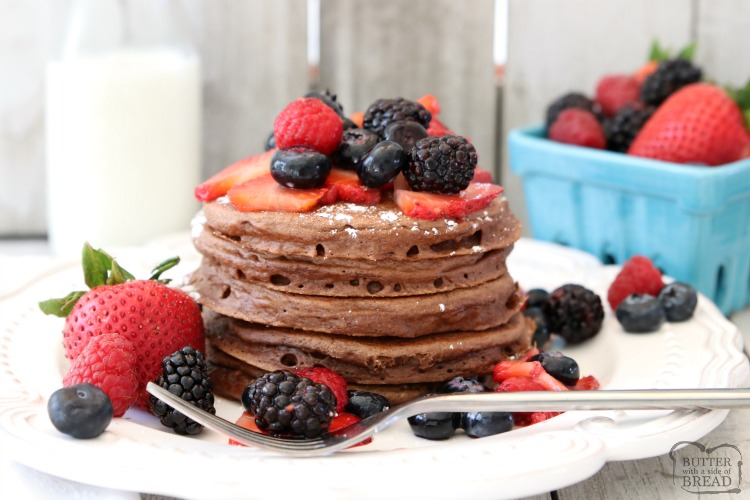 Chocolate Protein Pancakes are sweet protein pancake recipe made with chocolate chips & topped with fresh berries. Perfect for a satisfying breakfast, brunch or dinner!