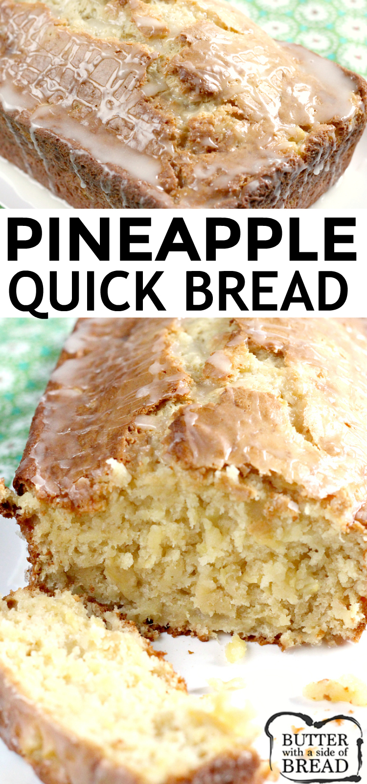 Pineapple Quick Bread is sweet, moist and absolutely delicious, especially with a simple pineapple glaze on top! This quick bread is made with crushed pineapple, cream cheese, sour cream and a few other basic ingredients.