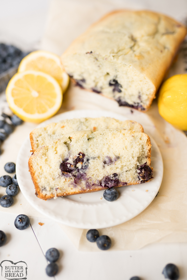 lemon blueberry quick bread, baked, sliced and served.