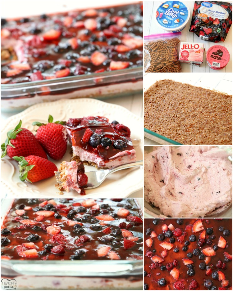 Berry Jello Pretzel Salad made with fresh berries & fruity Jell-O on a buttery pretzel crust! Gorgeous Jello salad recipe that tastes amazing and is so easy to make.