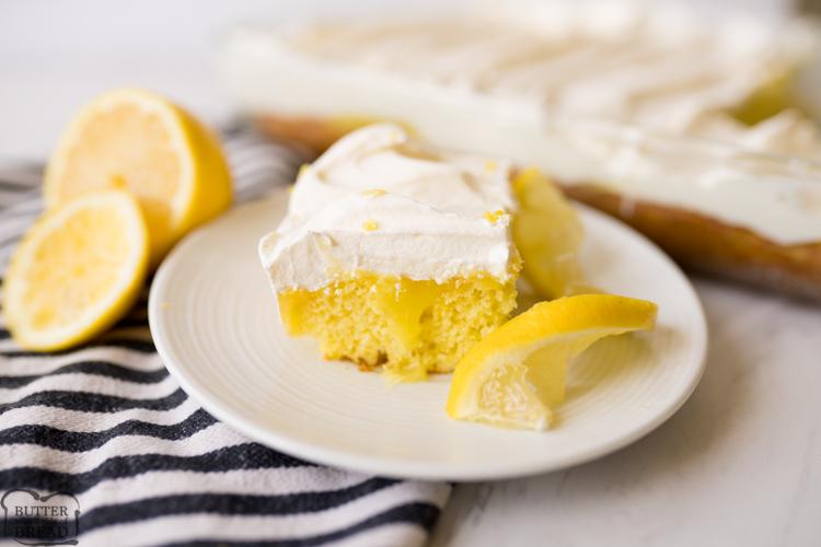 Lemon Poke Cake, finished, plated.
