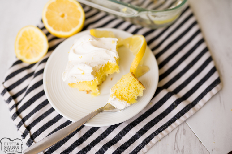 lemon poke cake, plated with lemons
