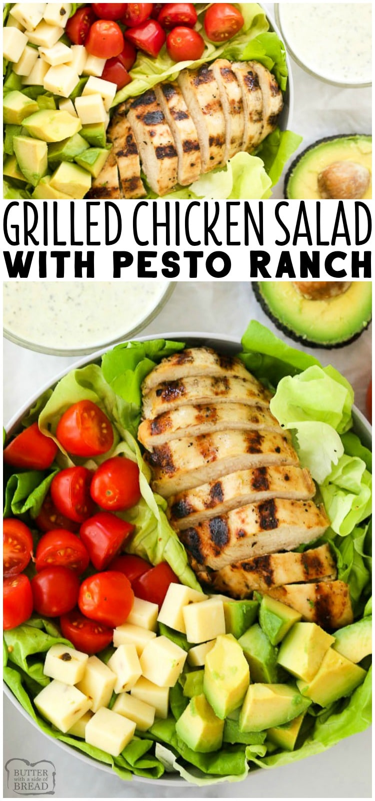 We love this  Grilled Chicken Salad Recipe with Pesto Ranch Dressing.  It is so easy and comes together so quickly. It's such a great grilled chicken salad recipe.  It includes a simple grilled chicken marinade recipe that makes the most tender and juicy grilled chicken and a delicious pesto ranch dressing everyone will love. #grilledchicken #healthysaladrecipes #pesto #ranch #recipefrom Butter With a Side of Bread