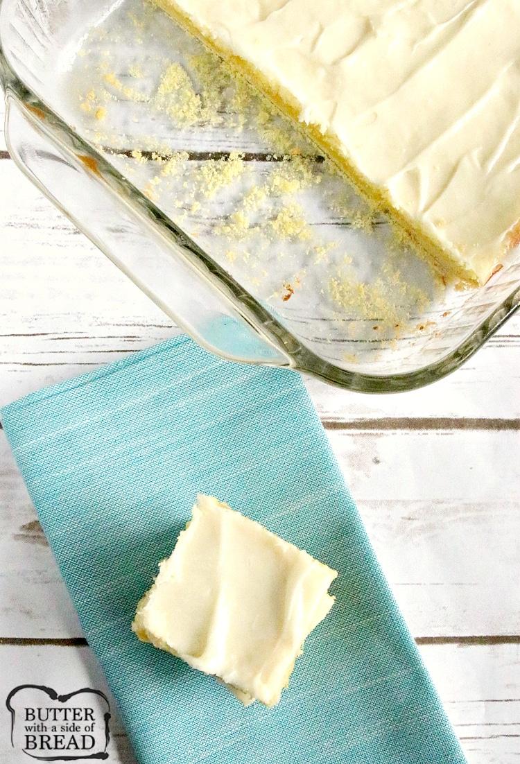 Sliced lemon cheesecake bars