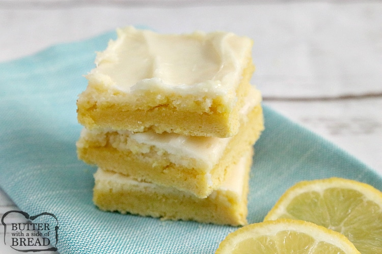 Lemon Cheesecake Bars are light, easy to make and only call for six ingredients. The crust is made with a lemon cake mix for an easy lemon dessert recipe with lots of lemon flavor!