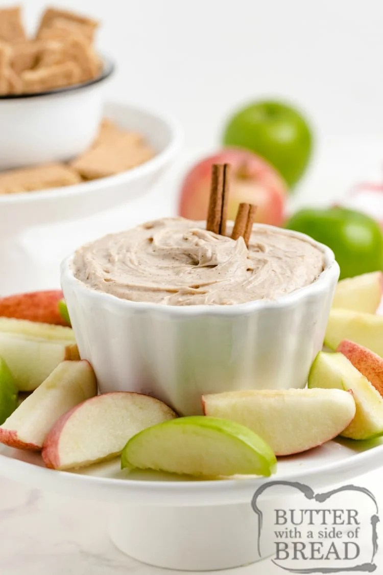 Easy dip recipe made with cream cheese and cinnamon