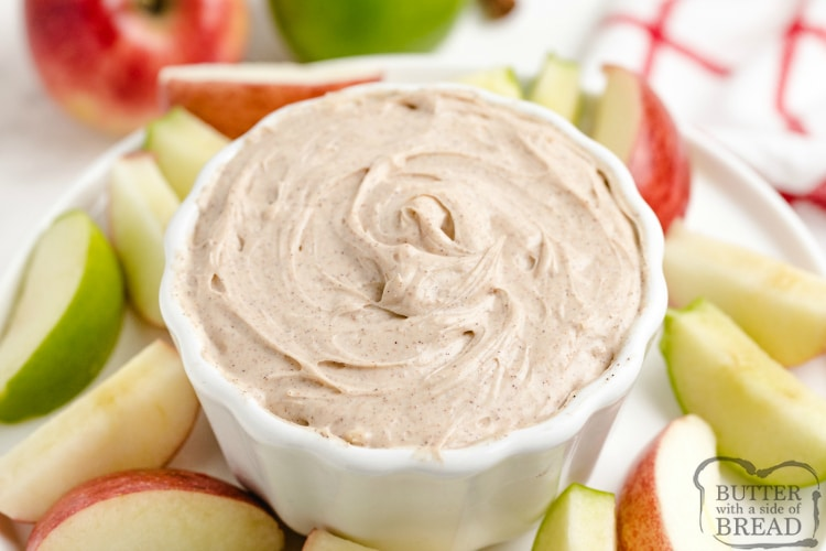 Cream cheese fruit dip with cinnamon