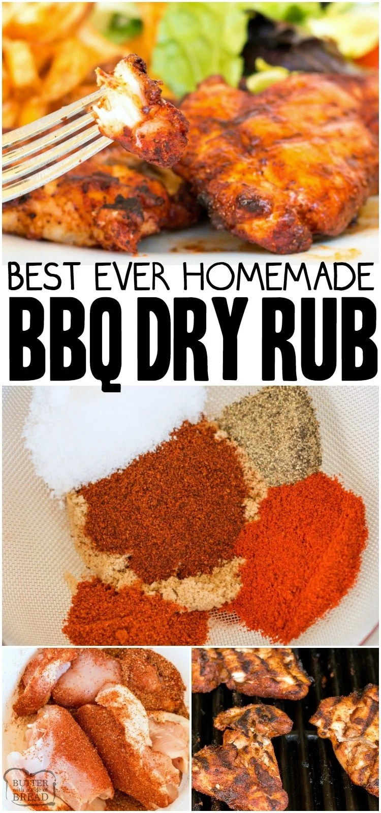 Best BBQ Dry Rub that can be used on chicken, beef, pork and fish.  BBQ rub recipe that is simple to make and adds a great flavor to grilled meats. #bbq #grilling #meat #bbqrub #dryrub #seasoning #recipe from BUTTER WITH A SIDE OF BREAD