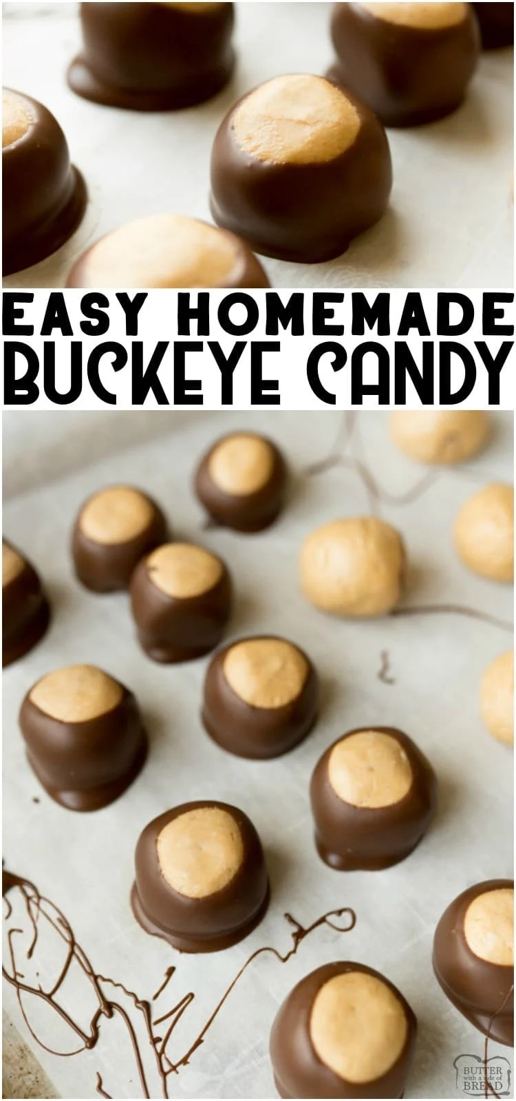 Buckeye Balls are simple, peanut butter and chocolate no bake candies. Buckeye candy is super easy to make and no one can resist these easy homemade candies!