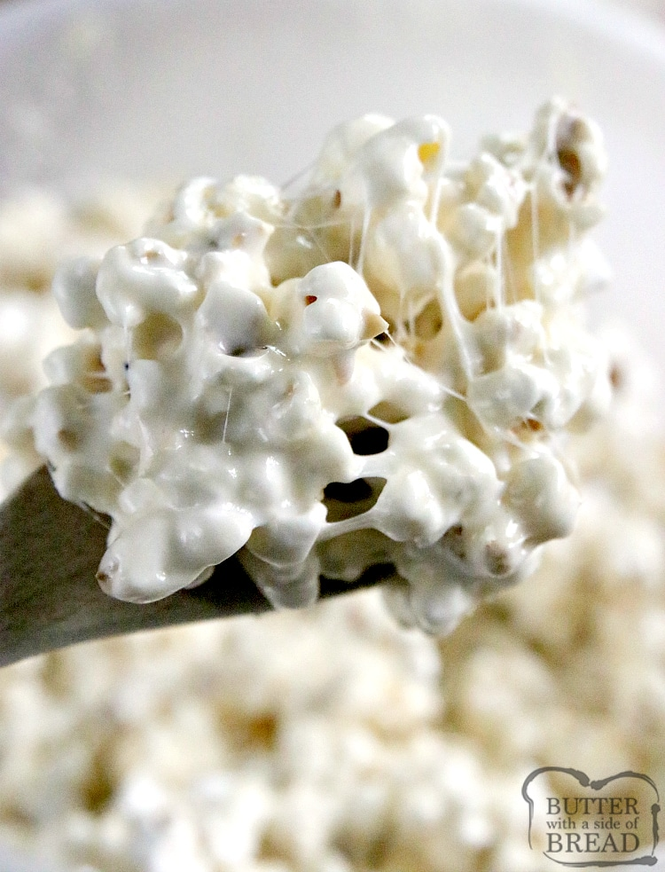 Marshmallow Caramel Popcorn is soft, sweet and deliciously gooey! Only 3 simple ingredients to make the caramel sauce to pour over popcorn and marshmallows!