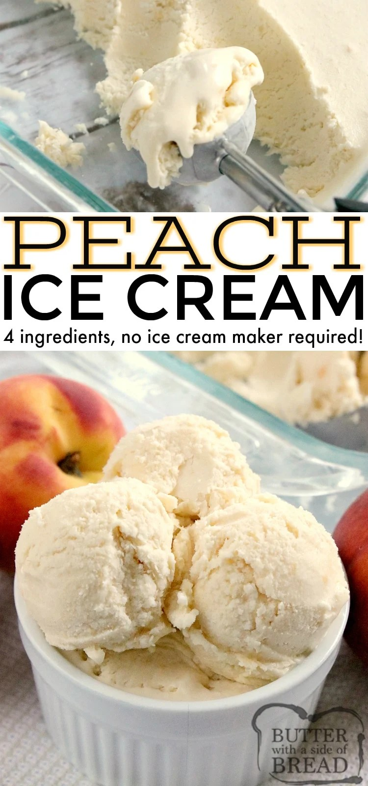 Peach Ice Cream is made with fresh peaches and real whipped cream, no ice cream maker required! Homemade peach ice cream is made with only 4 ingredients and a few minutes of preparation.