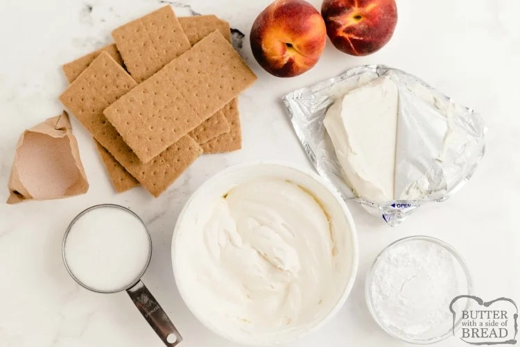 Ingredients in no bake peaches and cream bars