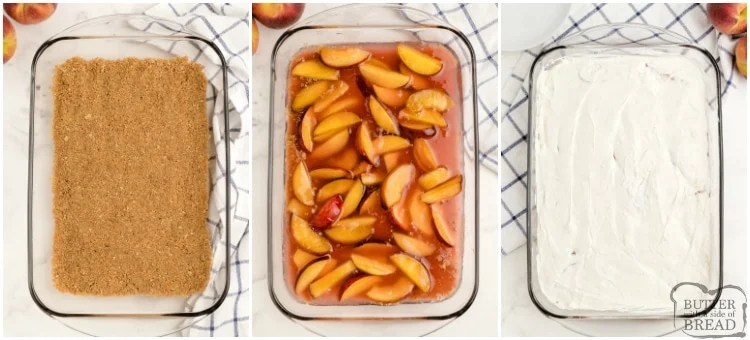 How to make layers in no bake peach dessert