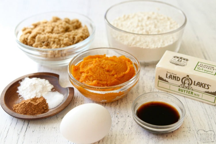 ingredients for pumpkin bars