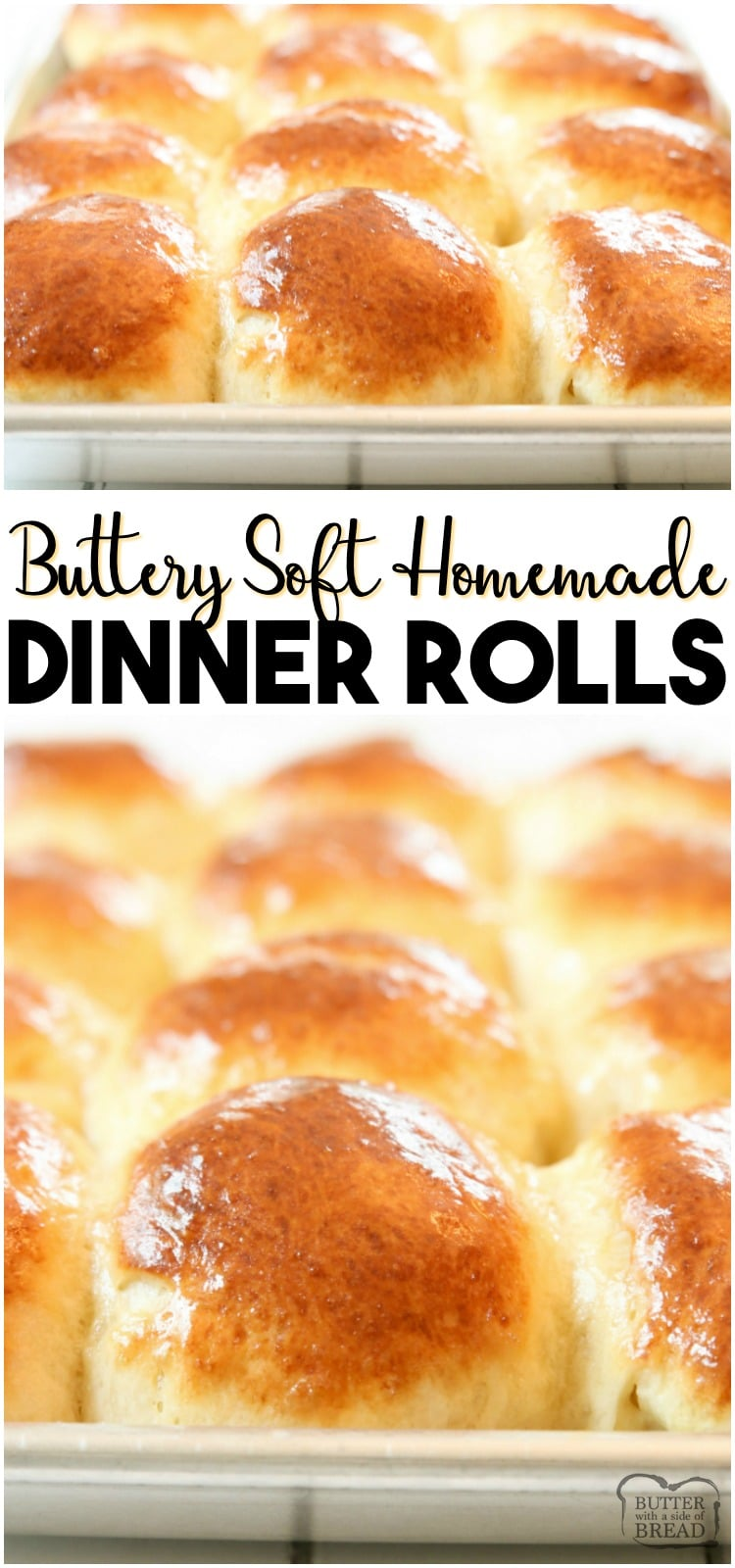 Easy Dinner Roll recipe perfect for procrastinators! Done in just over an hour, these buttery soft dinner rolls are the perfect addition to dinner. #rolls #dinner #bread #baking #homemade #yeast #recipe from BUTTER WITH A SIDE OF BREAD