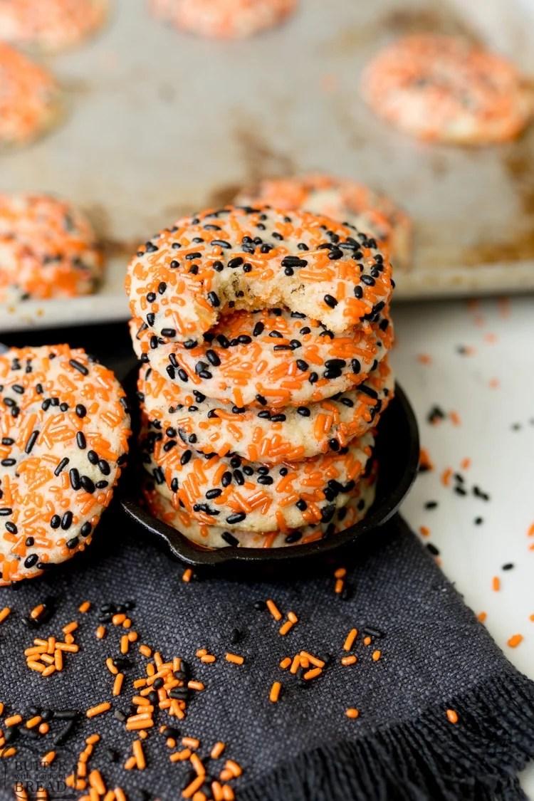 halloween cookies with orange and black sprinkles