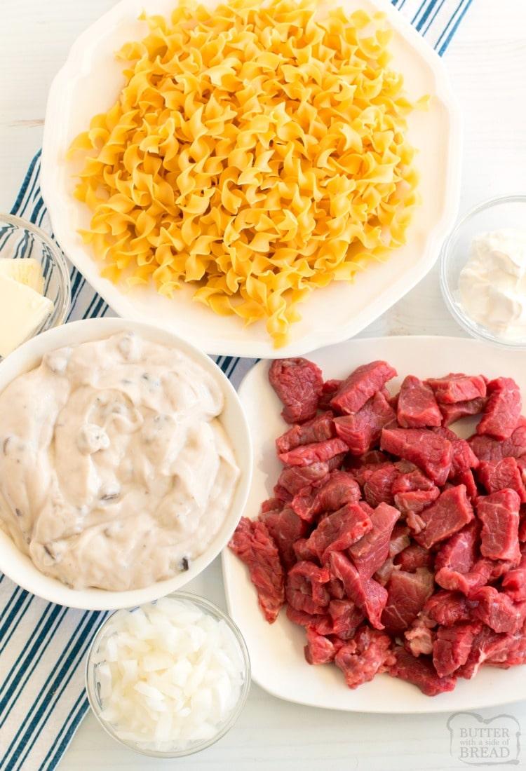 ingredients needed to make beef stroganoff