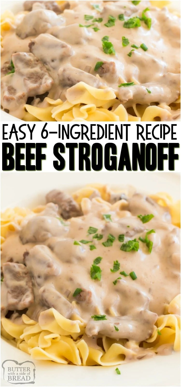Easy Beef Stroganoff Recipe is a classic, creamy & delicious family dinner recipe.  With just a few simple ingredients, you too can make this mouth watering easy Beef Stroganoff dinner in no time at all.